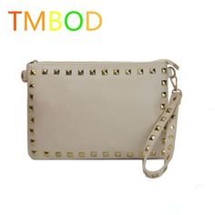 TMBOD European Style women pu leather rivet solid handbags ,fashion staches female totes shoulder crossbody bag.y146