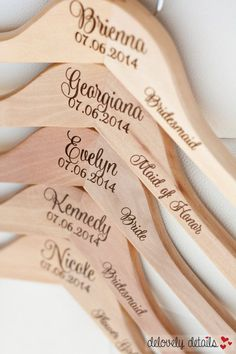 The original Personalized Bridesmaid Hangers - Engraved Wood Hangers - by delovely details   Great gifts for bridesmaids, mother of the bride, maid of honor, and more!