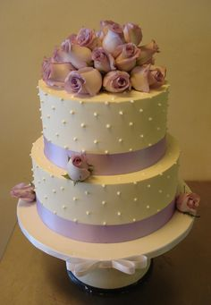 Image detail for -lilac buttercream wedding cake