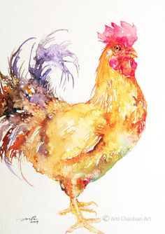 Rooster Original Watercolor Bird Painting 7x10 by artiart on Etsy, $54.00