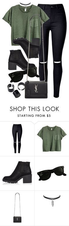 Style #11127 by vany-alvarado ❤ liked on Polyvore featuring River Island, Ray-Ban and Yves Saint Laurent