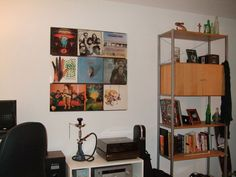 """A few months ago I came across a huge load of my dad's old records and decided to hang them up on an empty wall in my room. I first tried using tacks on the outside of the record sleeve to hold them in place which failed miserably. Next, I tried using """"Earthquake"""" antique and glassware putty and woke up with a pile of records on top of me that had fallen overnight. Finally, I went off to Home Depot and found someone who kind of knew what they were talking about....."""