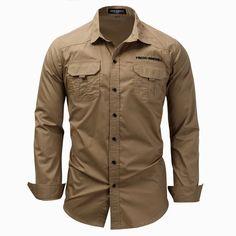 Men Shirt Military Khaki Army Green Shirts Men Shirt military Men's Long Sleeve Slim fit camisa masculina Khaki Army green Shirt High Quality Shirt men Shirts & Tops, Army Shirts, Work Shirts, Casual Shirts, Men Shirts, Flannel Shirts, Long Sleeve Cotton Dress, Long Sleeve Shirt Dress, Long Sleeve Shirts