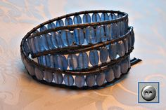 Indigo Mist Kyanite Leather Wrap Bracelet by OceanAirStudio, $90.00