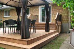Pool Gazebo, Deck With Pergola, Pergola Patio, Balcony Deck, Small Patio Design, Small Backyard Patio, Backyard Patio Designs, Patio Stairs, Outdoor Stairs