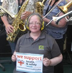 #HSWeek15   - Our very own Janette supporting Health and Safety Week and showing how PPE can protect us from the dangers of noise exposure, whilst with her band. #Helfie   #Noise   #HealthandSafety