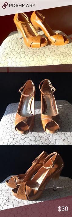 BCBG tan heels BCBG tan heels.  Super cute, excellent shape.  Only worn a couple of times BCBG Shoes Heels