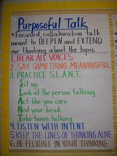 Here's a nice anchor chart on purposeful talk.