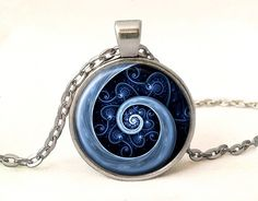 Blue Spiral Photo Pendant With Chain,Spiral Photo Necklace Unique Gift