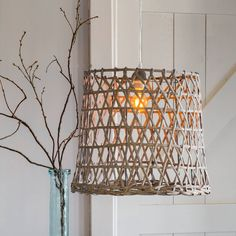 Primrose & Plum Bamboo Frame Pendant Light ($75) ❤ liked on Polyvore featuring home, lighting, ceiling lights, bamboo lighting, woven pendant light, plum lamp and bamboo lamp
