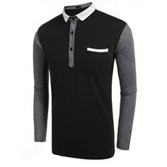 Men's Long Sleeve Turn Down Collar Patchwork Polo Shirts
