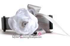 Matching Dog Collar &  White Flower with by UrbanRoseDogBoutique