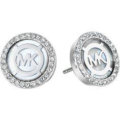 Michael Kors Logo Earrings ($95) ❤ liked on Polyvore featuring jewelry, earrings, clear earrings, clear crystal jewelry, logo earrings, earrings jewelry and michael kors earrings