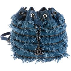 Pre-owned Chanel 2015 Denim Fringe Bucket Bag (158,400 PHP) ❤ liked on Polyvore featuring bags, handbags, shoulder bags, blue, drawstring shoulder bag, chanel handbags, blue shoulder bag, denim handbags and drawstring handbags
