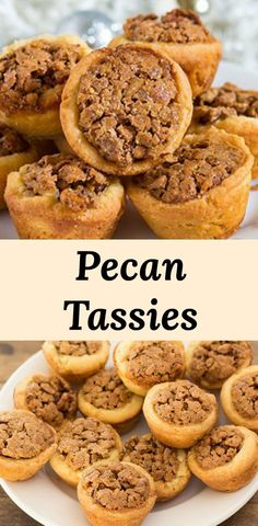 Pecan Tassies Pecan Tassies Mini pecan pie tarts with a butter and cream cheese crust and sweet pecan pie filling. Like a mini pecan pie! Perfect for cookie trays and dessert grazing tables. via Pear Tree Kitchen Pecan Recipes, Tart Recipes, Candy Recipes, Dessert Recipes, Dishes Recipes, Vegan Pecan Pie, Pecan Pie Filling, Pecan Tart Crust Recipe, Recipes