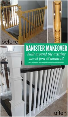 Beautiful stair railing renovation using the existing newel post and handrail ! @Remodelaholic #makeover #staircase