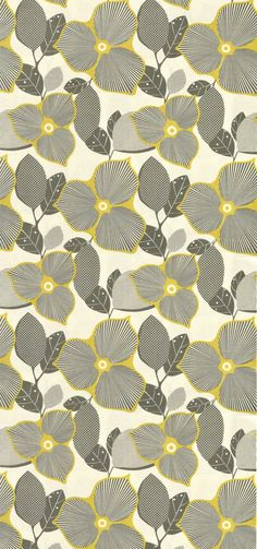 Amy butler, pattern, fabric, wallpaper, floral, colour, grey and yellow, line, drawing, illustration