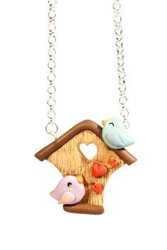 Collana Home Love - uccellini innamorati con casetta