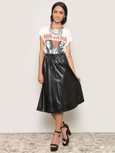 This fall, strut your stuff in this faux leather midi skirt. 2000s Fashion Trends, Early 2000s Fashion, Gypsy Warrior, Daily Fashion, Leather Skirt, Midi Skirt, High Waisted Skirt, Cute Outfits, Skinny Jeans