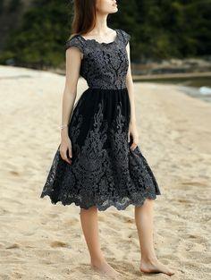 Lace Scoop Neck Short Sleeve Midi Dress BLACK: Lace Dresses | ZAFUL
