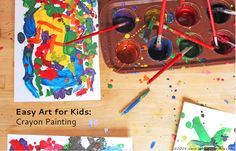 Crayon artwork using melted crayons has been the crafting rage for awhile now, usually in combination with a hair dryer. I started tooling around with other possibilities for melted crayon art projects and decided on this simple easy art project for kids: CrayonPainting. I mean who wouldn't love painting with warmmeltedcrayons? And if you use …