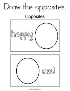 Draw the opposites Coloring Page - Twisty Noodle Pre K Activities, Preschool Learning Activities, Preschool Themes, Preschool Lessons, Teaching Kindergarten, Classroom Activities, Kids Learning, Opposites Preschool, Opposites Worksheet