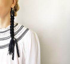 Black braided cotton yarn earrings with drop crystals / Elegant Boho / Super long thread art earrings / Huge braids dangles with lace bows Sporty Hairstyles, Try On Hairstyles, Box Braids Hairstyles, Winter Hairstyles, Trending Hairstyles, Black Women Hairstyles, 5 Strand Braids, Bow Braid, Make Hair Grow