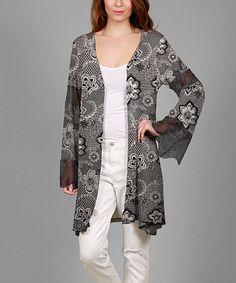 Look at this #zulilyfind! Black & White Lacy Open Cardigan - Plus #zulilyfinds