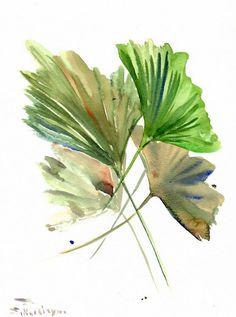 Gingko Biloba peinture, herbes, feuilles, original art aquarelle minimaliste, 12 x 9 dans