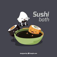 morceaux drôles de sushi de prendre un bain de soja Vecteur gratuit