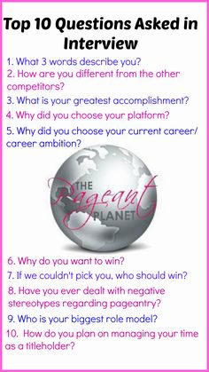 Just a sample of questions you could be asked in your next pageant interview. For more practice questions visit The Pageant Planet and get your free 233 Practice Pageant Interview Questions! http://thepageantplanet.com/233-practice-pageant-questions/
