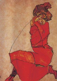Egon Schiele. Kneeling girl in a red dress