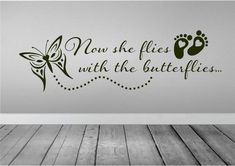 Now She Flies With Butterflies Wall Decal  Car by Walls2LifeDecals