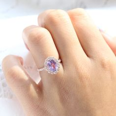 Large Lavender Sapphire Engagement Ring in 14k Rose Gold Luna Halo Ring, Size 6.25 | La More Design Stacked Wedding Rings, Matching Wedding Rings, Curved Wedding Band, Diamond Ring Settings, Halo Diamond, Traditional Engagement Rings, Purple Sapphire, Alternative Engagement Rings, More