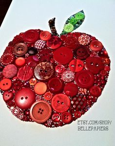 Button Art! Buttons  Swarovski Crystals. Bright, red apple!