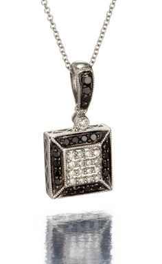 14k White Gold Black Diamond Pendant and Necklace