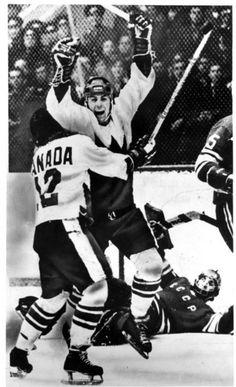 Paul Henderson celebrates Canada's winning goal in the 1972 Summit Series