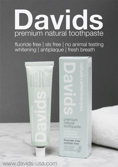 Davids is the highest quality and best natural toothpaste available. Fluoride Free | SLS Free | Natural Ingredients | Vegan | No Animal Testing |  Whitening | Antiplaque | Fresh Breath | Made in USA |  Amazing Taste! Order online at www.davids-usa.com