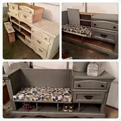 Repurposed dresser as an entry way bench!