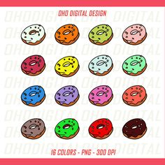 Colors Donuts Clip art, illustrations PNG, Planner Stickers Commercial Use by OHODIGITAL on Etsy