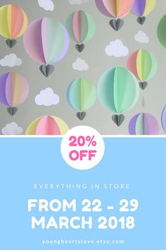 Party Pack of Hot Air Balloon Garlands: Party Decorations - Photo Backdrop - Kids Party - Baby Shower - Clouds - New Baby - New mom - Prop Baby Shower Parties, Baby Shower Themes, Baby Shower Decorations, Baby Showers, Baby Shower Gifts, Balloon Garland, Balloon Decorations, Balloons, Birthday Backdrop