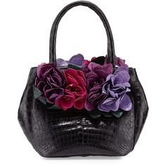 Nancy Gonzalez Floral-Detail Crocodile Small Tote Bag ($4,250) ❤ liked on Polyvore featuring bags, handbags, tote bags, blackmulti colors, purse tote, floral print handbags, man bag, zip tote et black purse