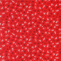 red music notes fabric Robert Kaufman In Tune