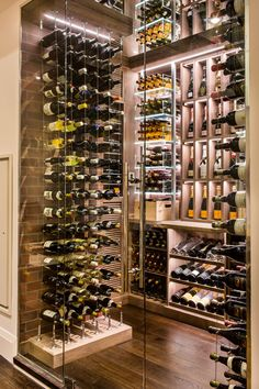 Transitional Modern Custom Wine Cellar by Papro Consulting Cable Wine System 3