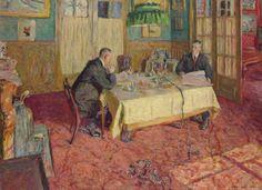 Edouard Vuillard, Henri and Marcel Kapferer in Their Dining Room, 1912, oil on board.