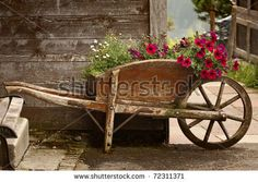 A rustic old wooden wheelbarrow filled with colorful flowers, in a rural mountain setting - buy this stock photo on Shutterstock & find other images. Vieux Wagons, Wagon Planter, Wheelbarrow Planter, Wheelbarrow Wheels, Wooden Wagon, Garden Cart, Old Wagons, Flower Cart, Stock Image