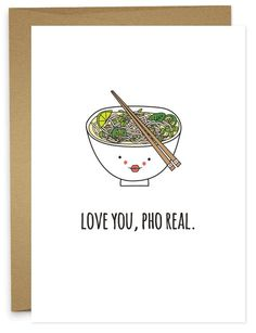Whether you pronounce it correctly (fa) or incorrectly (fo) your lover will totally get you. This card says I don't mess around with my food or my love for you. • A6 folded card • blank inside • match