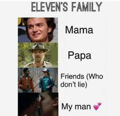 I think the mom would be Joyce mostly because Eleven has never met Steve. At least I don't think so. Watch Stranger Things, Stranger Things Have Happened, Stranger Things Season 3, Stranger Things Aesthetic, Stranger Things Netflix, Saints Memes, Prince Charmant, Stranger Danger, Movies And Series