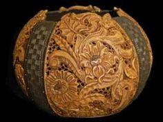 A carved gourd by Jorden Straker