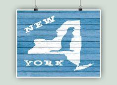 Arte del estado de Nueva York mapa Nueva York y por DigitalArtLand